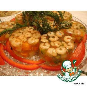 Заливное из овощей с креветками