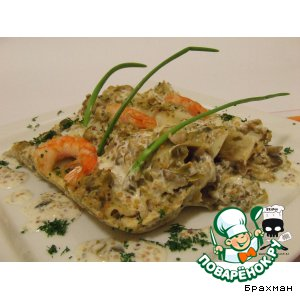 Каннелони с грибами и креветками под пикантным соусом