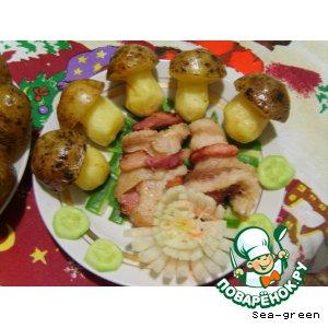 Жареные рулетики из рыбы с картофельными грибочками