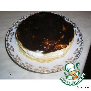 Блинный тортик с творожным кремом и фруктами