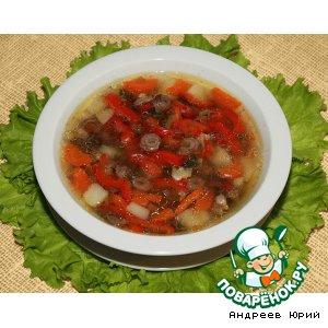 Домашний суп с куриными сердечками