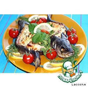 Сибас с творожно-сливочным сыром и овощами