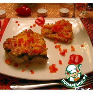 Рыбно-грибное сердце с рисом и креветками