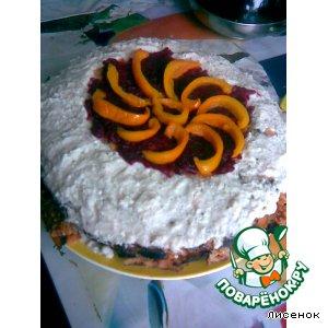 Блинный пирог на томатном соке