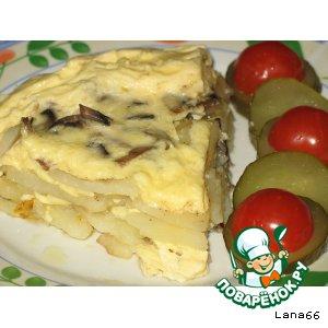 Картофель с шампиньонами в тройной заливке