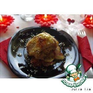 Рыбный рулет с шампиньонами под горчичным соусом