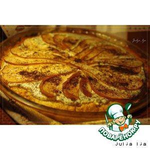 Медовый пирог с творогом, маком и грушами