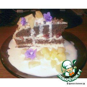 Торт со сливочным кремом, мороженым и ананасом
