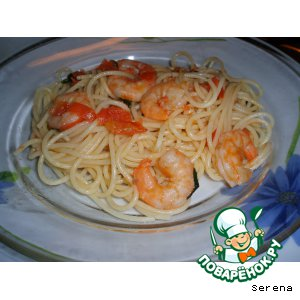 Спагетти с хвостами креветок
