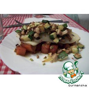 Маринованная тыква с грибами и сыром