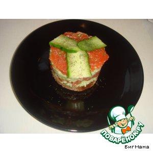 Слоеные бутерброды с форелью