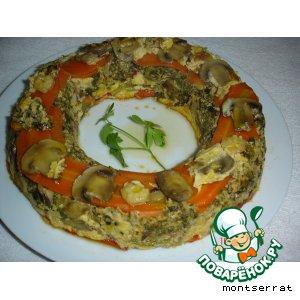 Запеканка овощная с креветками и грибами