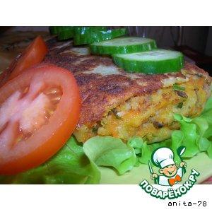 Рулет из картофельного теста с рыбно-грибной начинкой
