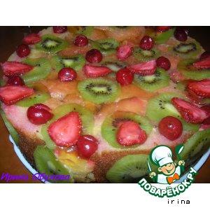 Торт из бисквитных рулетиков