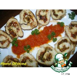 Куриные рулетики с вялеными помидорами