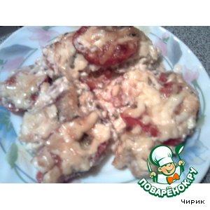 Говядина, запечeнная с помидорами и сыром