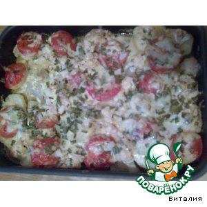 Окорочка, запеченные с картофелем и цветной капустой
