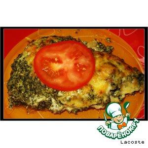 Рыба с соусом из шпината и грибами