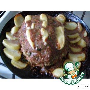 Рулетик из рубленного мяса с картошкой