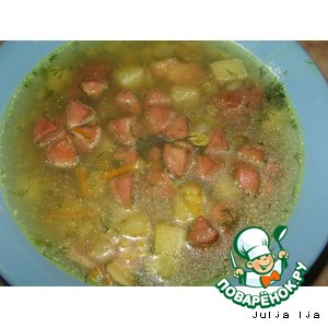"""Суп гороховый с сосисками """"Цветочки"""""""