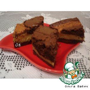 Шоколадно-творожное пирожное