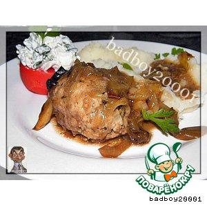 Куриные котлеты в грибном соусе