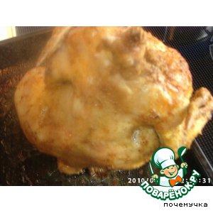 Курица, запеченная на бутылке, в духовке