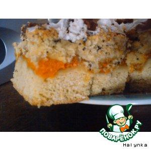 Пирог абрикосовый с маком и глазурью