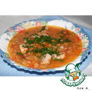 Суп с перловкой и тунцом