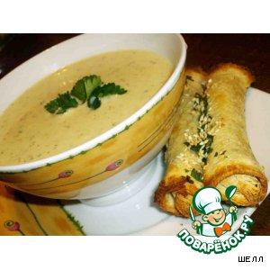 Суп из сельдерея с кунжутными палочками