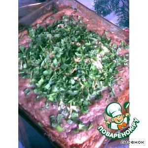 Открытый мясной пирог с овощами