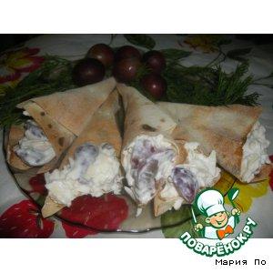 Кулeчки из лаваша с сыром и виноградом