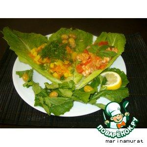 Креветки с овощным гарниром