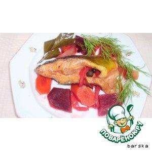 Карп розовый  в овощах