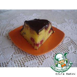 Пирог с малиной на сметане