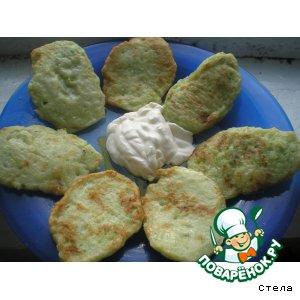 Оладушки из кабачков, картофеля и лука
