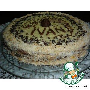 Песочно-миндальный торт с шоколадным кремом