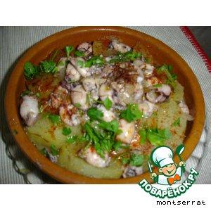 "Картофель с мелкими кальмарами и шафраном ""Patata con chipirones y azafran"""