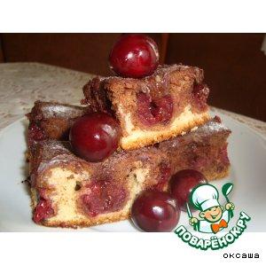 Пирог с вишнями и шоколадом