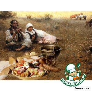 Картофель с копченой грудинкой по-пастушьи