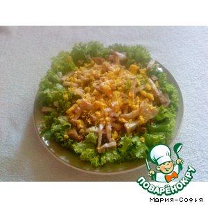 Салат с копченой грудинкой и черствым хлебом