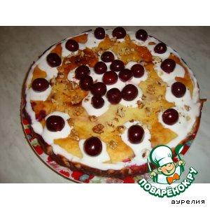 Сочный творожный пирог с вишнями
