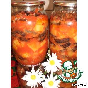 Баклажаны с картофелем в томатном соусе