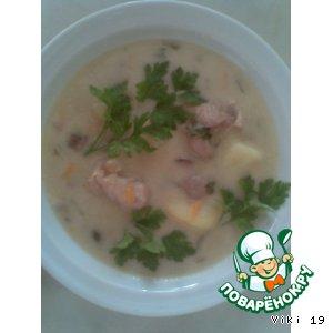 Суп-соус с курицей, печенью и грибами