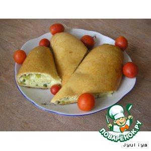 Рулет с творогом, сыром и зелeным луком