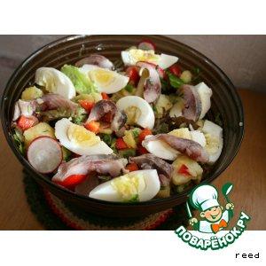 Салат с сельдью и яйцом