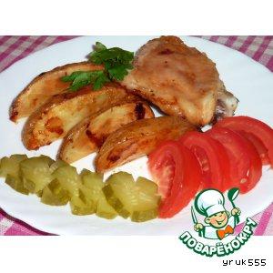 Печeная картошка с курицей