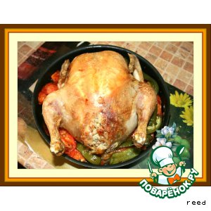 Фаршированная курица с перцами