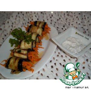 Баклажаны фаршированные морковью и соус к ним