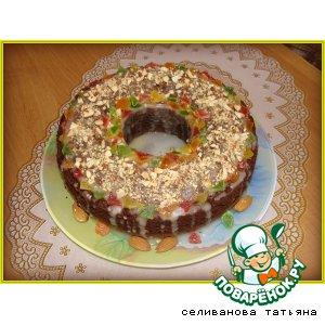 Шоколадный кекс с цукатами и миндалем